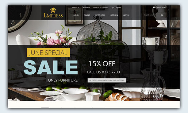 website design example - empress homewares