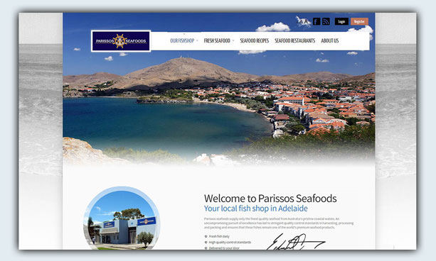 website design example - parissosseafoods