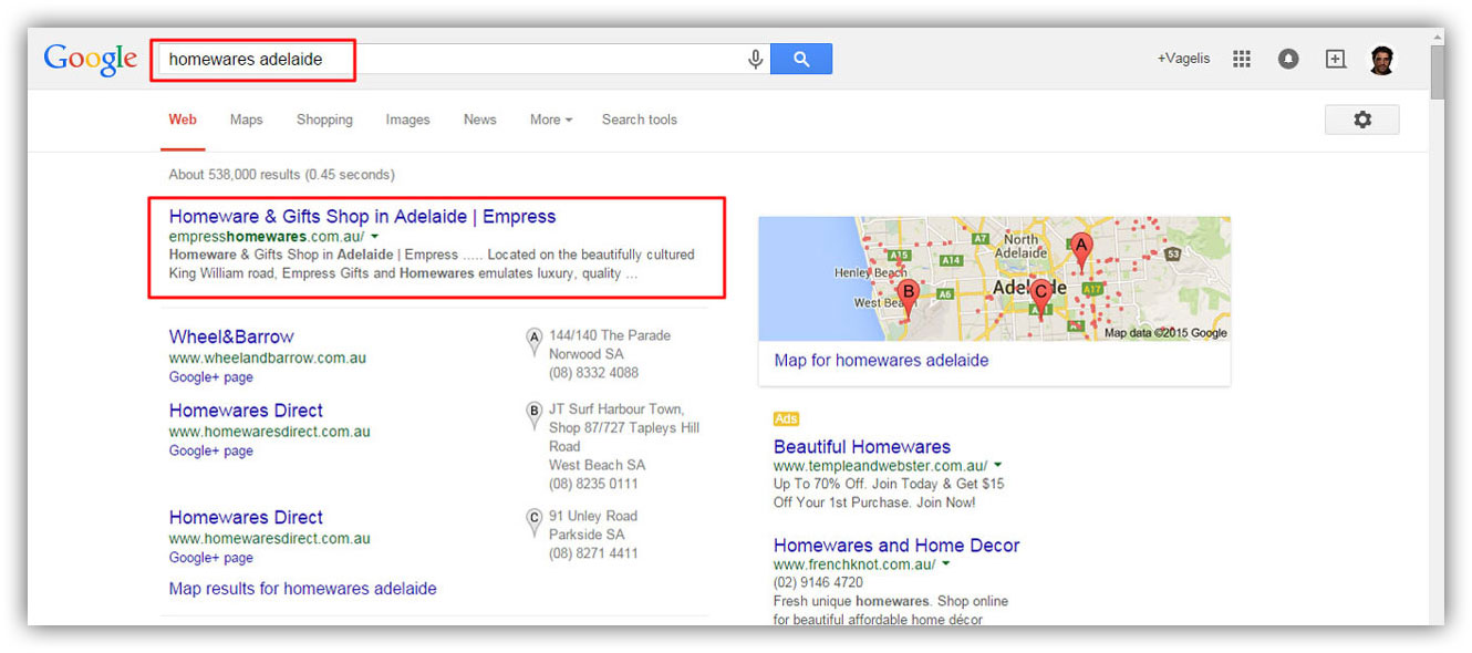Seo results for the keyword 'homewares Adelaide'